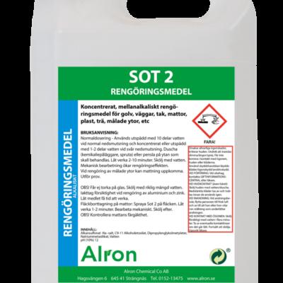 Sot 2 mellanstark rengöringsmedel – 3 x 5 liter